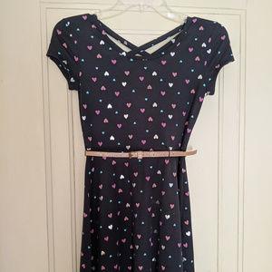 Girl's So Short Sleeve Black Dress with Hearts
